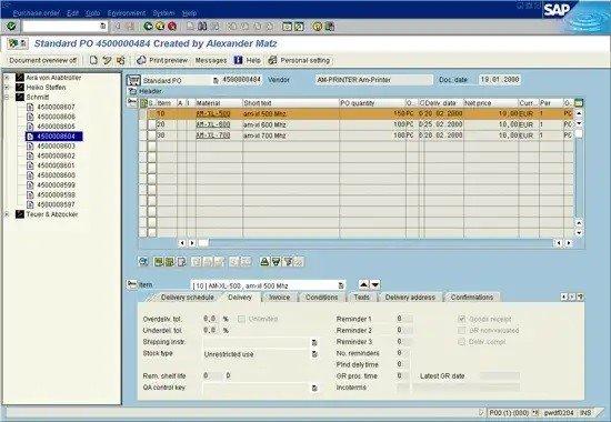 Vista de pantalla de sistema SAP R3