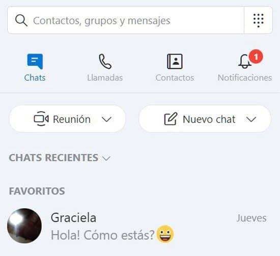 Chat en Skype Web