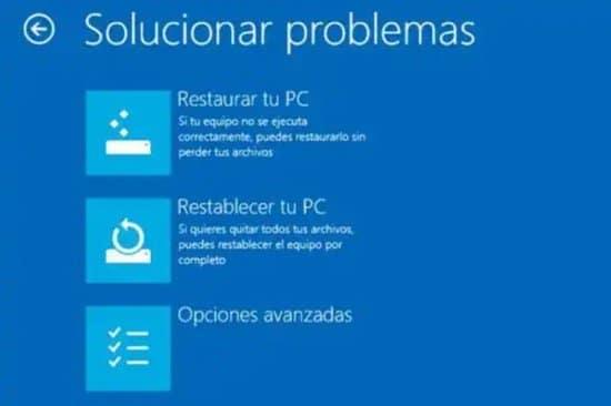 Reparar computadora con las herramientas de Windows