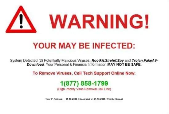 Alerta de virus en la computadora