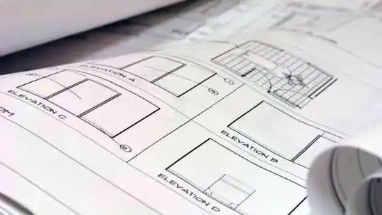 Plano de construcción en papel