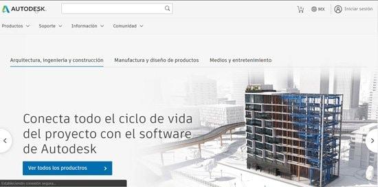 Página web oficial de Autocad