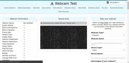Servicio Webcam Test