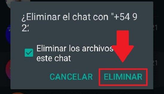 Eliminar un contacto de Whatsapp que no está en la agenda