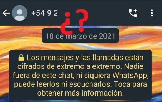 Contacto desconocido en WhatsApp