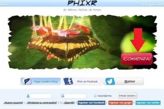 Pasos para difuminar fotos online con Phixr
