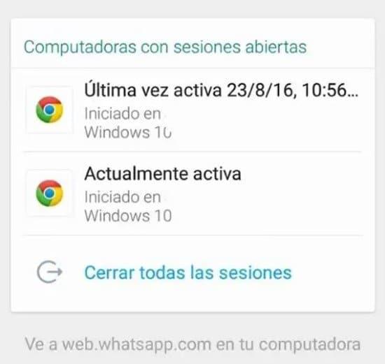 Vista de sesiones abiertas de WhatsApp