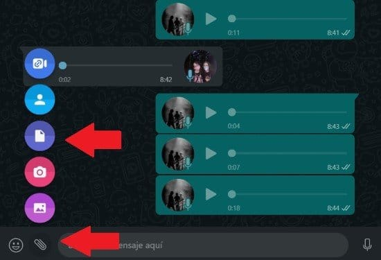 Enviar archivos en WhatsApp Web