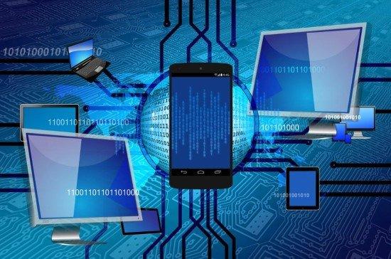 Distintos dispositivos conectados entre sí en una red