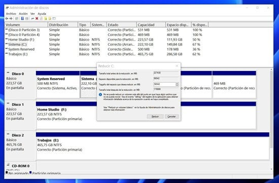Creación de particiones en el Administrador de disco duro