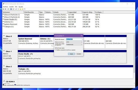 Creación de partición extendida en disco duro