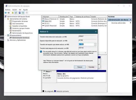 Elegir el tamaño de la nueva partición de disco duro