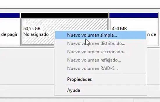 Crear nuevo volumen simple en disco duro