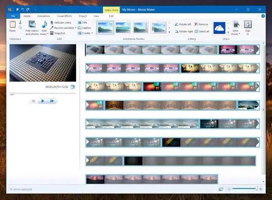 Vista del editor de video Movie Maker