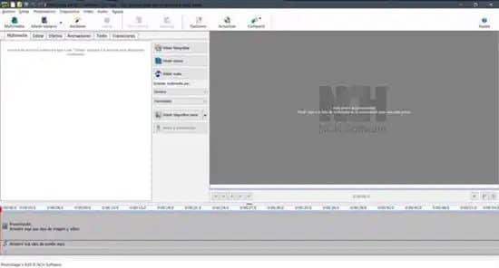 Vista de la pantalla del editor PhotoStage