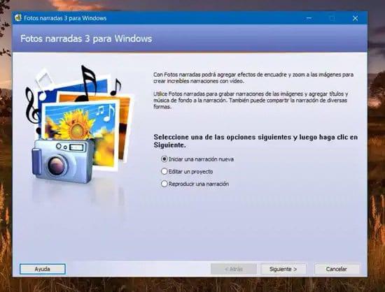 Iniciar narración con fotos en Windows