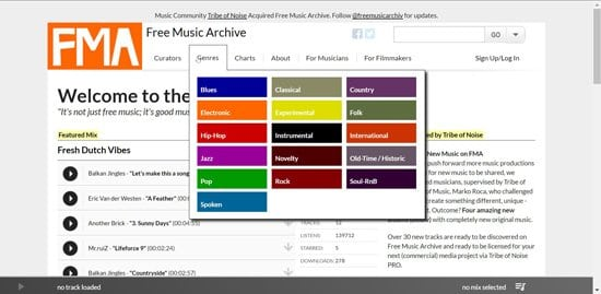 Música gratis para videos en Free Music Archive