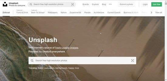Imágenes sin derechos de autor en Unsplash