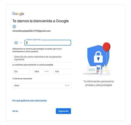 Añadir número de teléfono a cuenta de Google