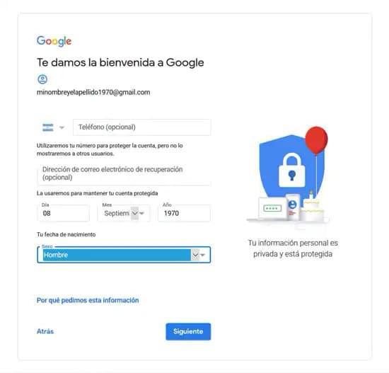 Formulario para crear cuenta en Google