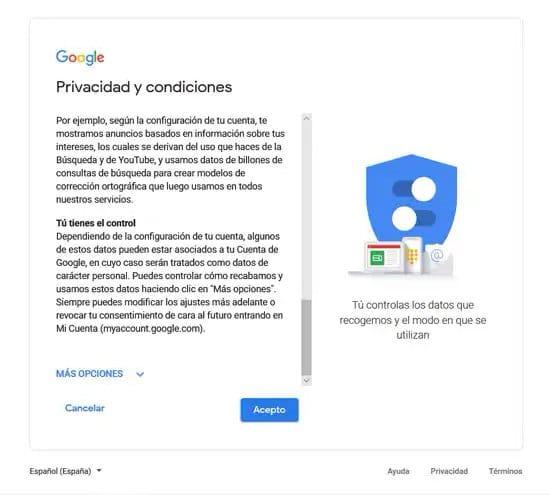 Aceptar condiciones de uso de Google