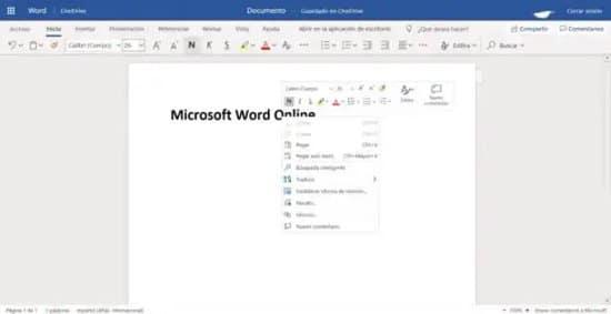 Versión online de Word
