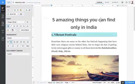 Editar archivo Docx con Zoho Writer