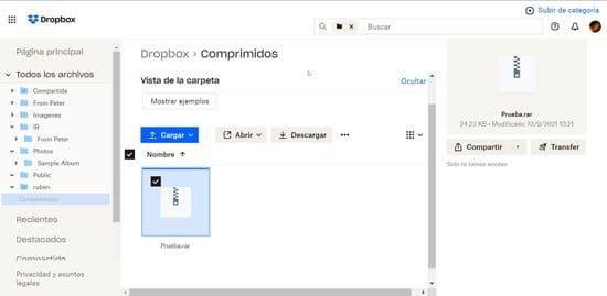 Extraer archivo comprimido en Dropbox