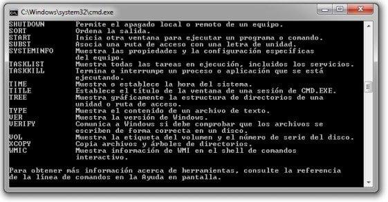 consola de comandos DOS