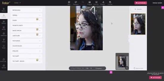 Pixelar un rostro en una imagen con Fotor