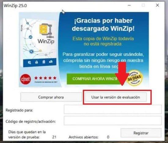 Usar versión gratis de WinZip