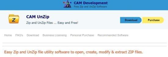 CAM UnZip alternativa a WinZip
