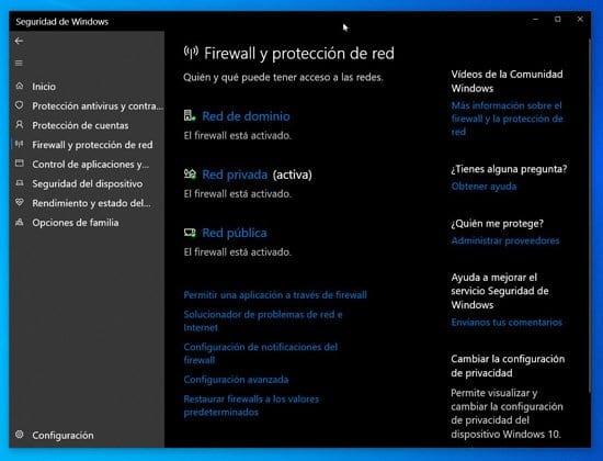 Firewall de Windows y protección de red