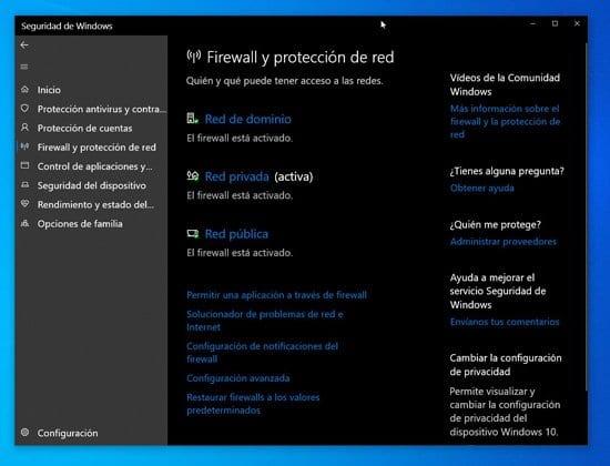 Configuración de firewall de Windows