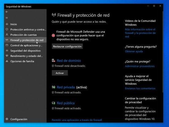 Configuración de firewall por redes
