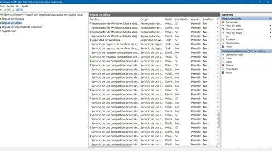 Creación de reglas de firewall en Windows